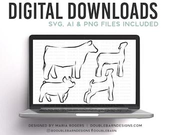 NEW | Show Pig, Show Lamb, Show Goat, Show Steer Line Style Bundle of Digital Downloads