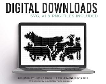 Livestock Set with Heifer Digital Download   Heifer - Lamb - Goat - Pig   SVG - AI - PNG