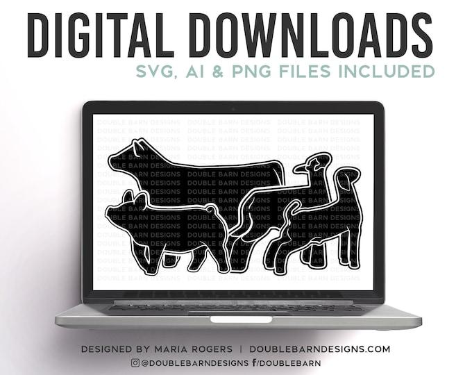 Livestock Set with Heifer Digital Download | Heifer - Lamb - Goat - Pig | SVG - AI - PNG