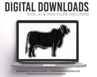 Brahma Cow Digital Download - SVG - PNG  Files - Show Cattle