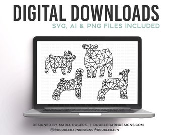 NEW! | Geometric Show Pig, Show Lamb, Show Goat, & Show Heifer Designs | Bundle of Digital Downloads |  SVG, PNG, Ai |Commercial License