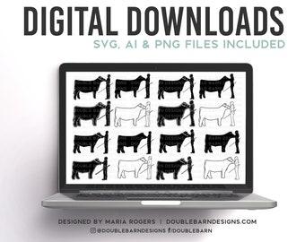 Cattle Showmen Designs | 16 Versions of Heifer and Steer Showmen | Bundle of Digital Downloads | SVG, PNG, Ai |Commercial License