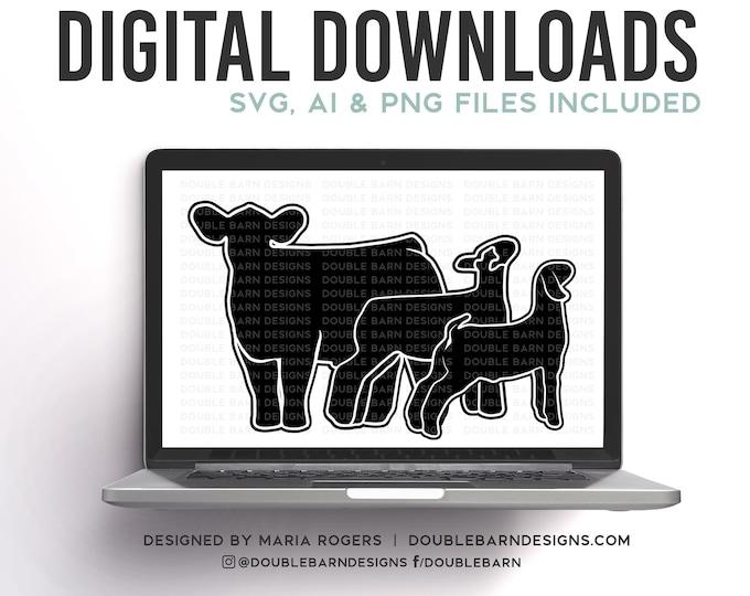 Steer Lamb Goat Digital Download - SVG - AI