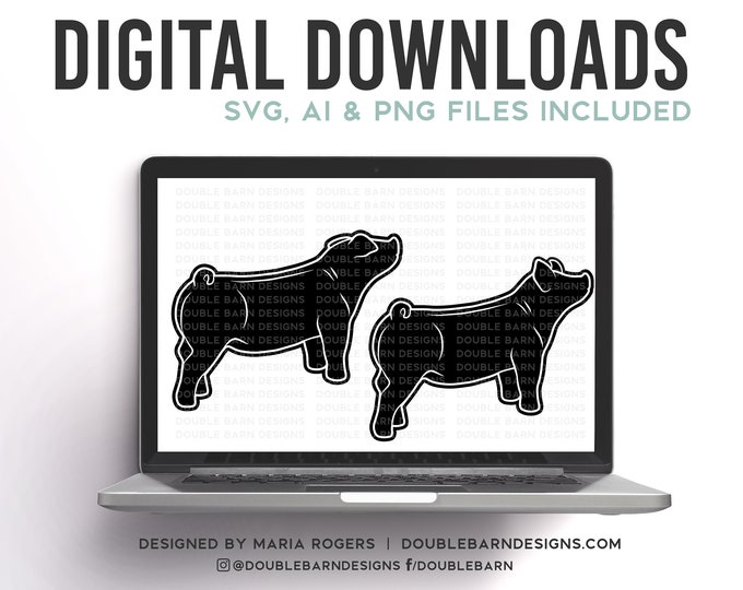 Two Market Pig Sale Style Pig Digital Downloads, Duroc, Chester, Yorkshire, Hampshire Show Pigs