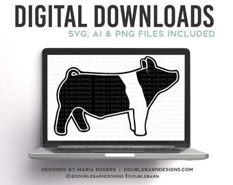 Hampshire Show Pig Backdrop Pig Digital Download - SVG - PNG - AI