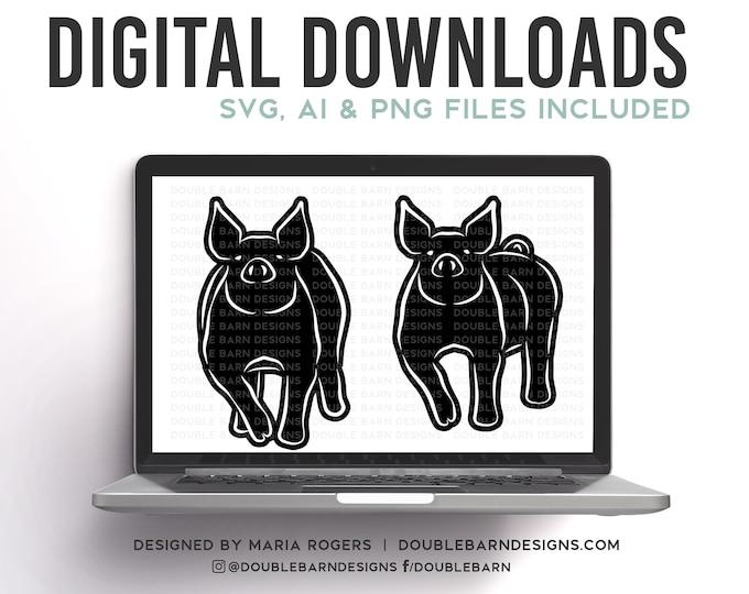 Show Pig Line Design Set Digital Download - SVG - PNG - AI