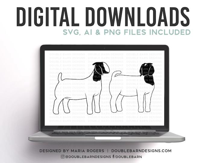 Boer Doe Set Digital Download - SVG - PNG - AI - Show Goat Design
