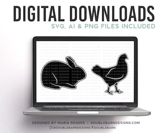Rabbit and Chicken Digital Download Specialty Livestock SVG AI Files