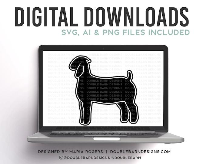 Boer Doe Profile Digital Download - SVG - PNG - AI Show Goat Design
