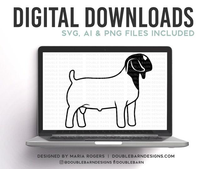 Boer Buck Digital Download - SVG - PNG - AI - Show Goat Design
