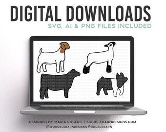New Females Livestock Set Digital Download | Heifer - Ewe - Doe - Gilt | SVG - AI - PNG