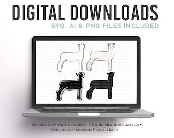 Southdown White Face Cross Show Lamb | Digital Downloads - SVG, PNG, Ai Files | Commercial License