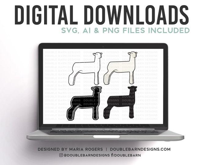 Southdown White Face Cross Show Lamb   Digital Downloads - SVG, PNG, Ai Files   Commercial License