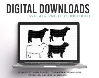 NEW! | Show Heifer Profile Designs | Bundle of Digital Downloads | SVG, PNG, Ai |Commercial License