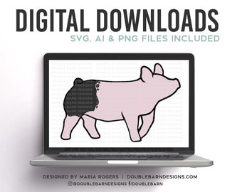 Blue Butt Cross Show Pig Digital Download  AI - SVG - PNG - Show Pig Design