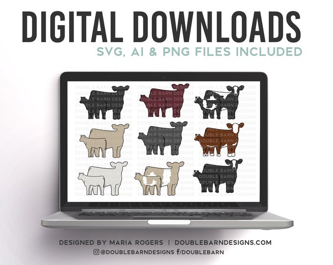 Cow Calf Pairs | Digital Downlaods - SVG, PNG, Ai Files | Commercial License