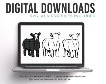 Show Steer | Baldie Cattle Design - SVG - PNG - AI