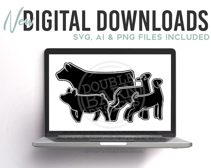 Updated Livestock Set Digital Download | Steer - Lamb - Goat - Pig | SVG - AI - PNG