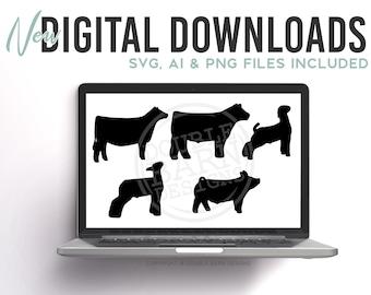 Livestock Silhouette Set Digital Download | Steer - Heifer - Lamb - Goat - Pig | SVG - AI - PNG