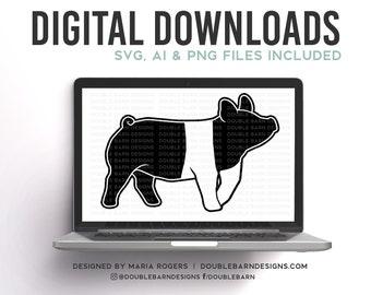 Hampshire Show Pig Silhouette Digital Download - SVG - PNG - AI