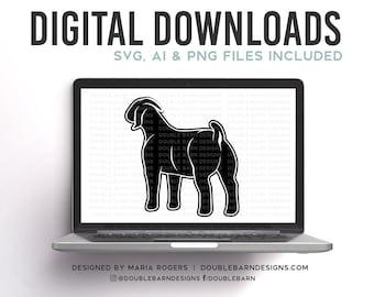 Market Goat Boer Goat Rear Profile Digital Download SVG