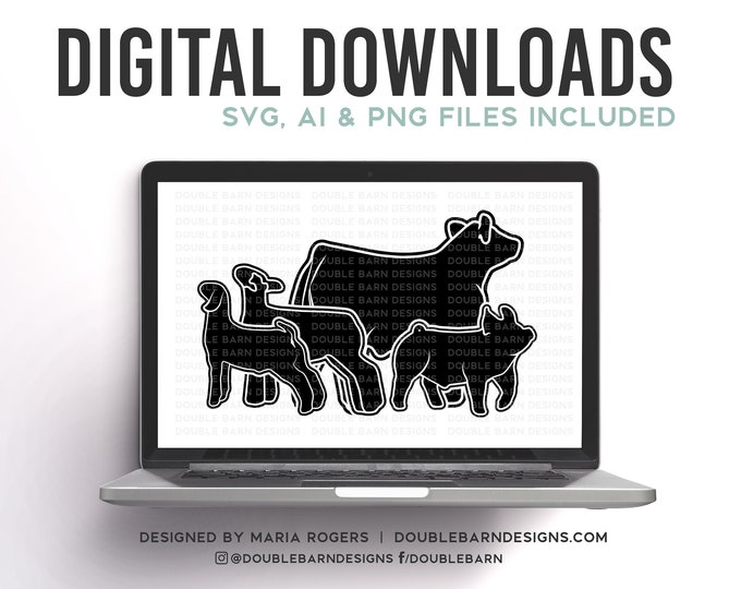 Livestock Set Digital Download | Steer - Lamb - Goat - Pig | SVG - AI - PNG
