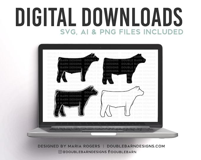 NEW! | Show Steer Profile Designs | Bundle of Digital Downloads | SVG, PNG, Ai |Commercial License