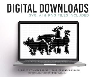 Lamb Pig Goat Digital Download - AI - SVG - PNG - Livestock Designs