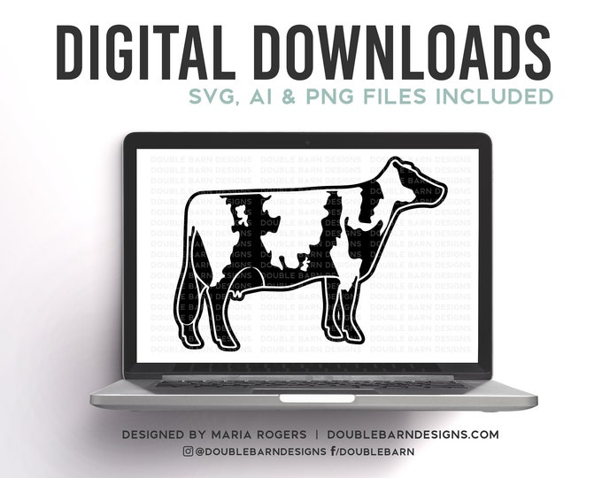 Ayrshire Cow Digital Download | Dairy Cow Design | AI PNG SVG Files