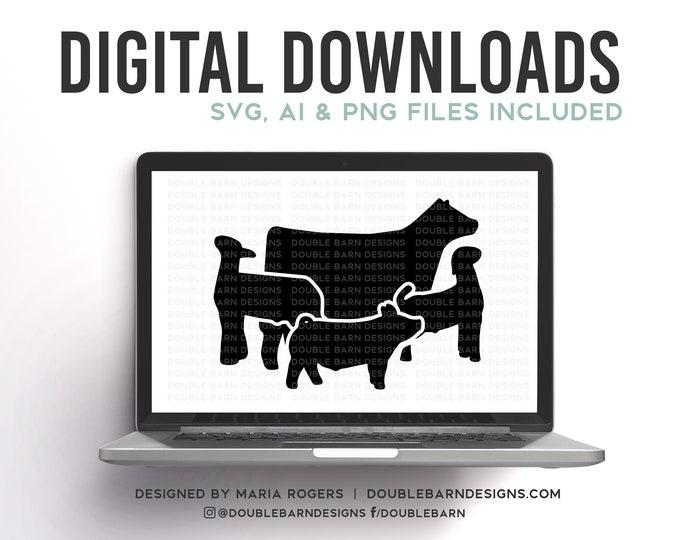 New Livestock Set Digital Download | Heifer - Lamb - Goat - Pig | SVG - AI - PNG