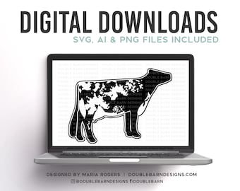Dairy Shorthorn Digital Download - SVG - PNG - Show Dairy Cow