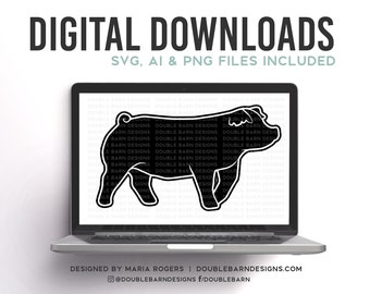 Duroc Show Pig Silhouette Digital Download - SVG - PNG - AI