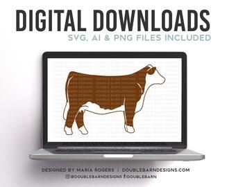 Hereford Heifer Digital Download - SVG - PNG - AI