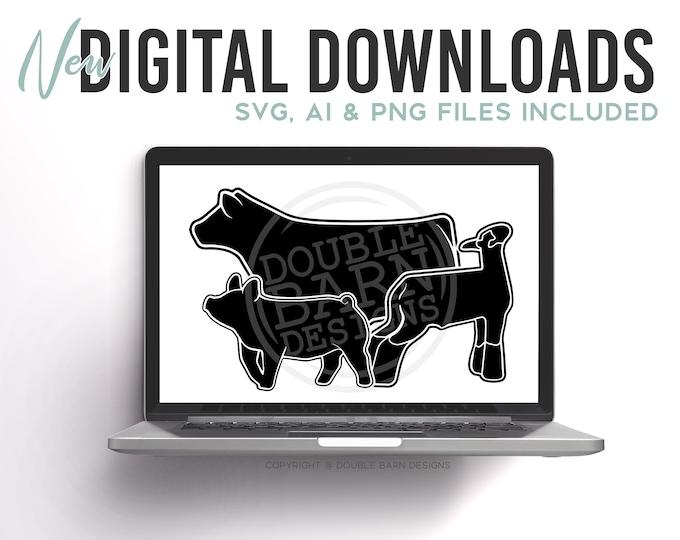 New 2020 Livestock Set Digital Download | Steer - Lamb - Pig | SVG - AI - PNG