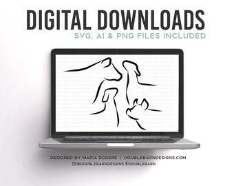 Livestock Heads Digital Downloads - SVG - PNG - Steer - Heifer - Lamb - Goat - Pig