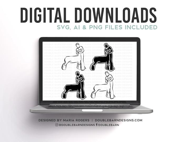 Lamb Showmen Designs   Boy and Girl Option   Bundle of Digital Downloads   SVG, PNG, Ai  Commercial License