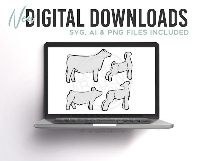 Livestock Outline Digital Download | Steer - Lamb - Pig - Goat | SVG - AI - PNG