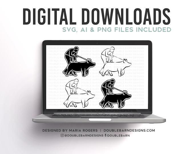 Pig Showmen Designs | Boy and Girl Option | Bundle of Digital Downloads | SVG, PNG, Ai |Commercial License