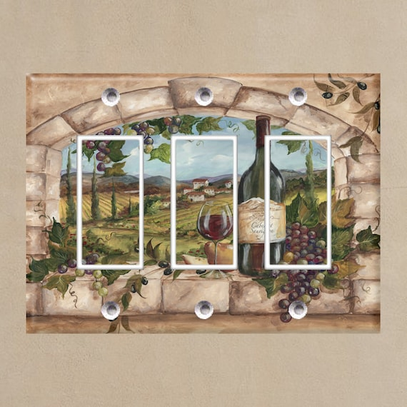 Light Switch Covers Home Decor Outlet Tuscan Arches 3 Wine Bottle Glass