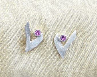 V for victory, sterling silver post earrings