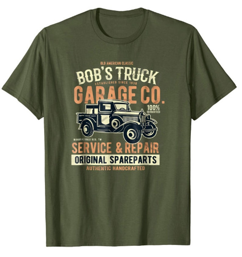 Classic Garage Mens PRINTED T-SHIRT Truck Services Repairs Classic Vehicle