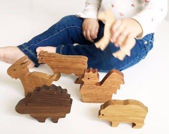 Hardwood Barnyard Animal Set