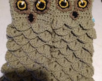Owl finger-less gloves