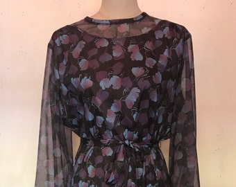 1970s Purple floral with printed chiffon sleeve vintage dress