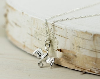 Dragon Necklace, Sterling Silver Dragon Necklace, Silver Dragon Pendant, Tiny Dragon Necklace, Flying Dragon Necklace, Symbolic Necklace