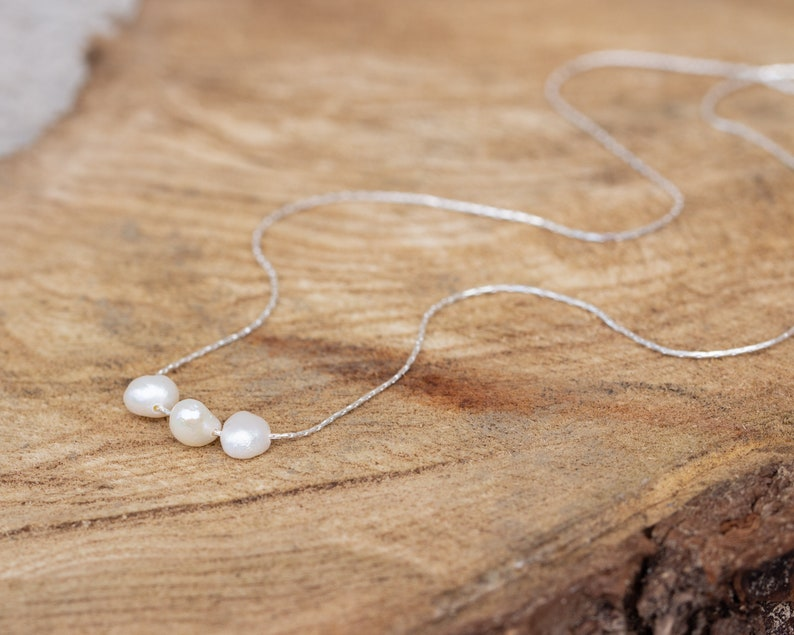 Delicate Wedding Necklace Thin Chain Pearl Necklace Minimalist Pearl Necklace Sterling Silver Freshwater Pearl Necklace Pearl Necklace