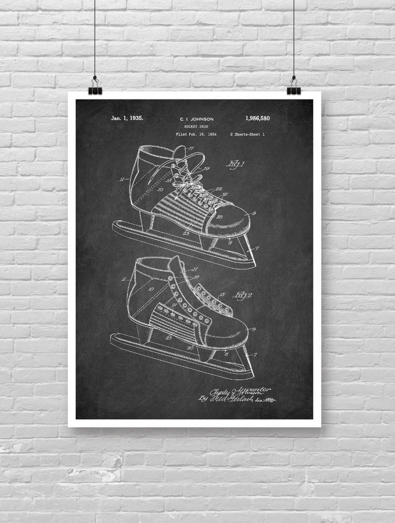5bf547c0eb237 Hockey Shoe Patent print, Winter sport patent, Up North art , NHL art Blue  print technical drawing, Chalkboard Art, patent Kraft paper [139]