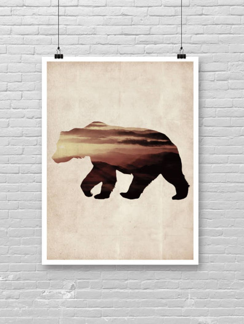 Bear wall art grizzly bear art photography wildlife art sunset double exposure art vintage paper bear profile artwork woodland animal