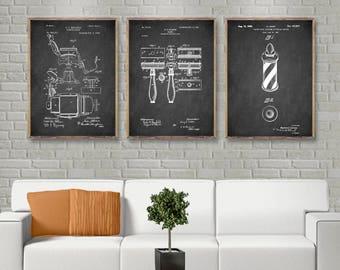 BARBER SHOP Vintage Patent kit of 3 old patents of barber shop chair - razor - sign, vintage art of barber shop, Gillette razor [4-48-122]