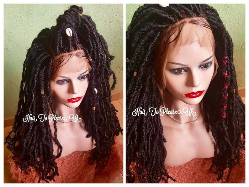 Faux Locs Braided Wig Braid Wig Human Hair Cowrie Shells Black Etsy